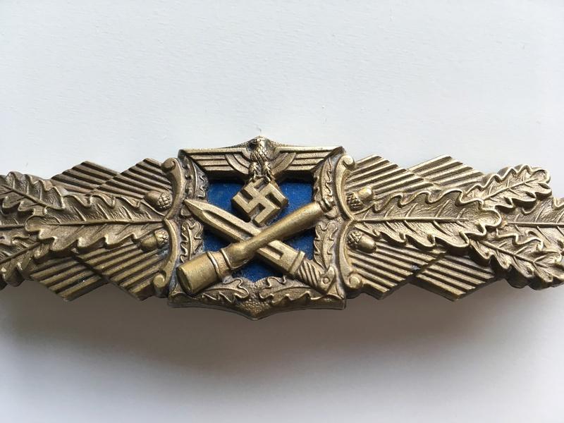Nahkampfspange bronze AGMuK plaque bleue Img_0035