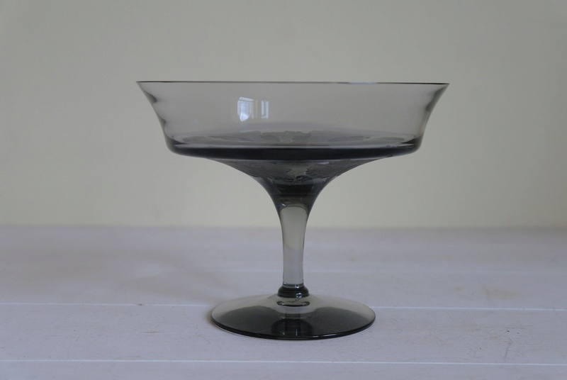 Grey Glass Footed Dish with Etched Leaf Pattern - Any Ideas Sam_2510