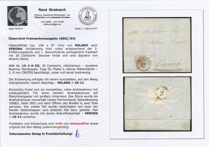 Briefmarken - Lombardei - Venetien 1850 - 1858 - Seite 5 Attest15