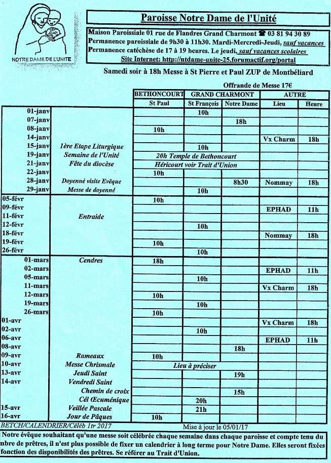 Horaires de messe du 1er trimestre 2017 2017t111