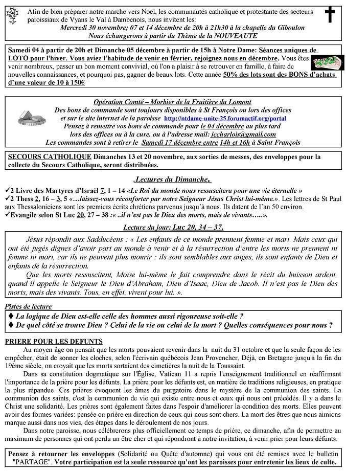 Trait d'union du 6 novembre 2016 + commande fromage pour le Tiers Monde Tu161111