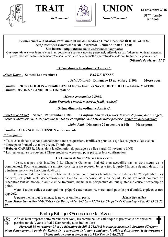 Trait d'Union du 13 novembre 2016 Tu161112