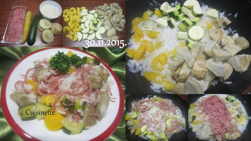 Riz.jambon aux légumes. 12313510