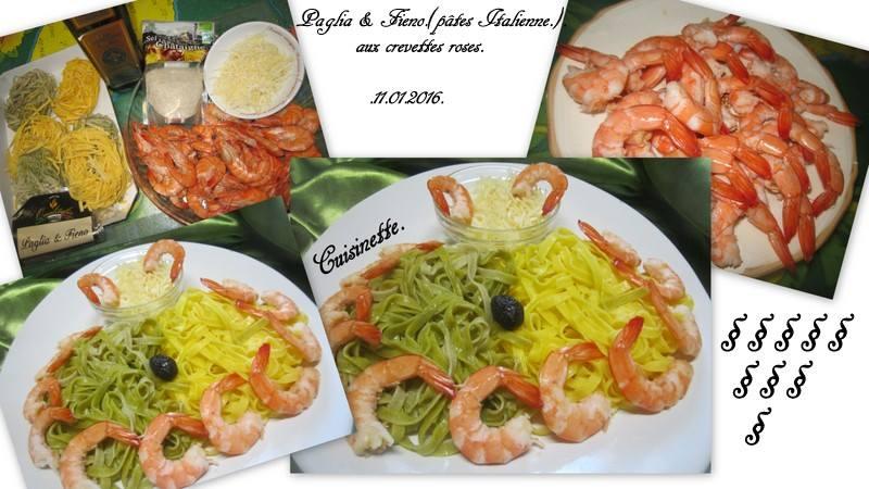 Paglia & Fieno.pâtes Italienne. aux crevettes roses. 12507310