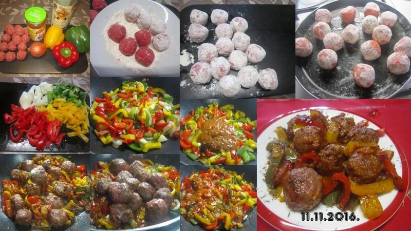 Boulettes de viande aux tricolores de poivrons. Boulet11