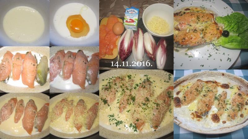 Gratinée d'endives rouge aux filets de saumon rose. Gratin10