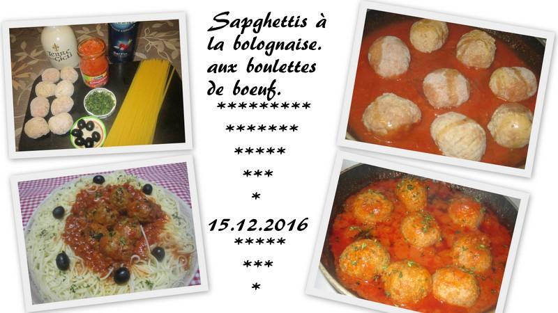 Spaghettis à la bolognaise aux boulettes de bœuf. Spaghe11