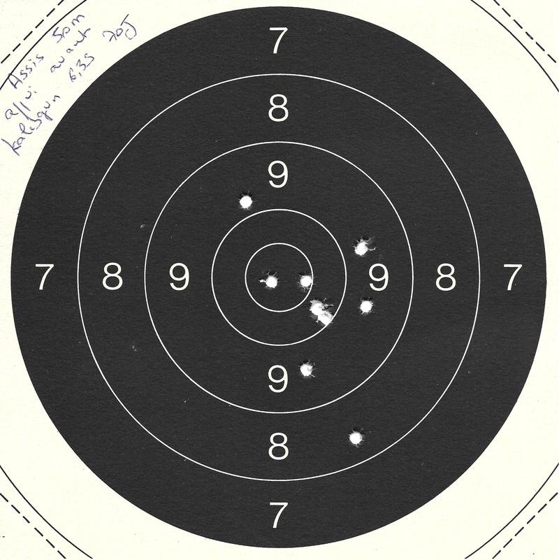 Carton du jour 50m Kalibrgun 6.35 en visée ouverte debout .. C50_8-10