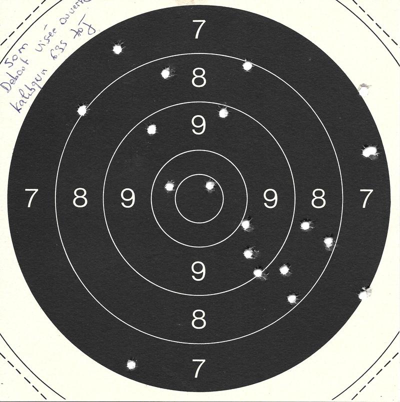 Carton du jour 50m Kalibrgun 6.35 en visée ouverte debout .. C50_8-12