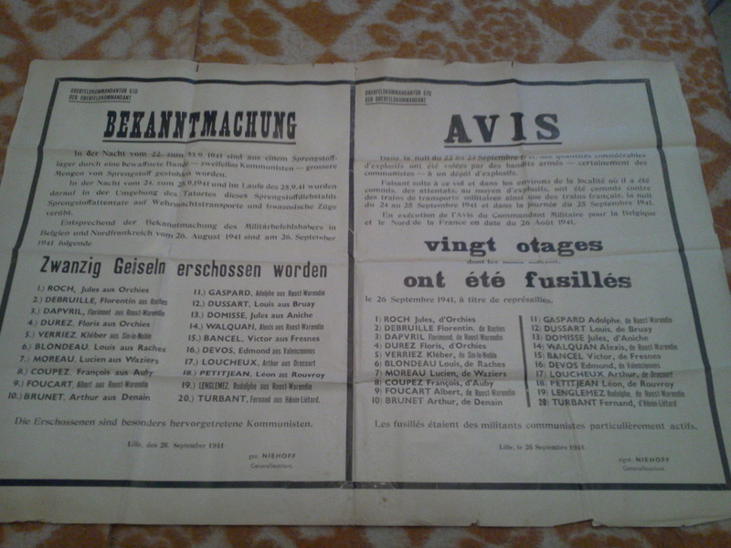 Authentification avis allemand - fusillés Lille septembre 1941 117