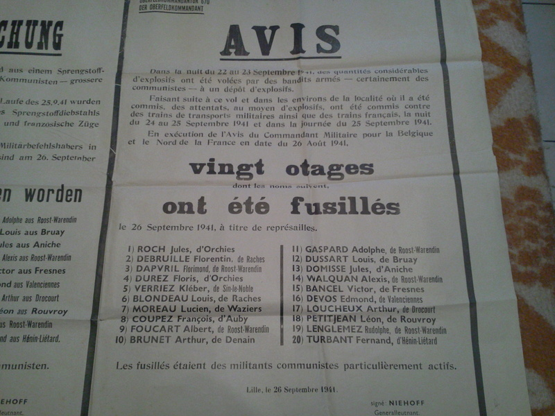 Authentification avis allemand - fusillés Lille septembre 1941 212