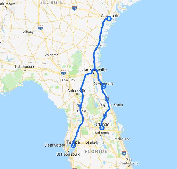 Tampa - Savannah - St Augustine  - Orlando - Aout 2016 Carte_10