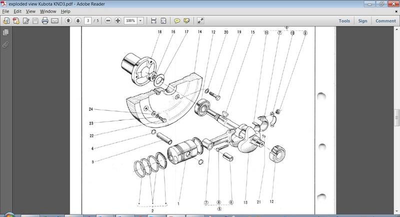 Adjustment conical crankshaft bearings Kubota  Cranks10