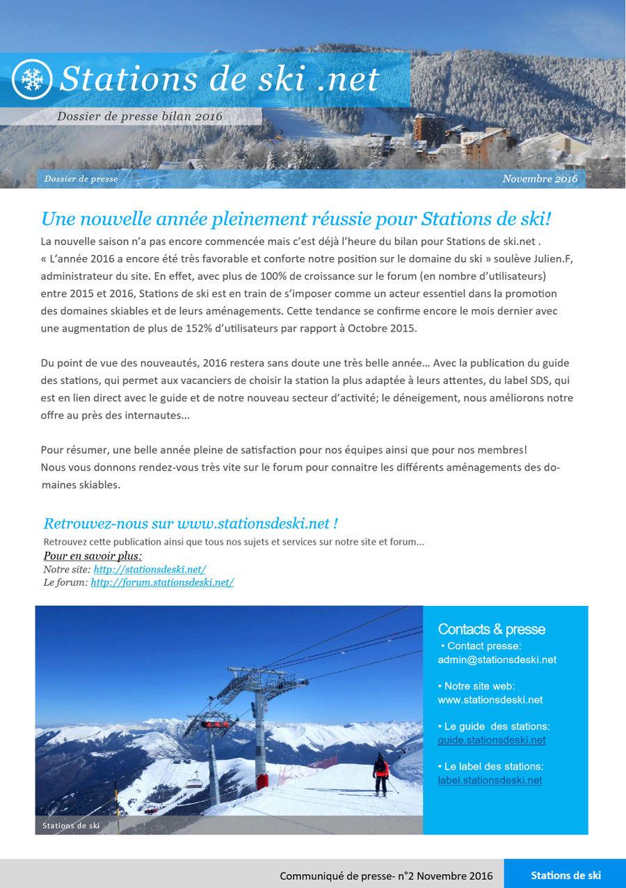 Nouveautés 2016 Stations de ski Presse10