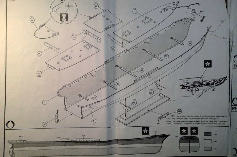 5 mats barque Le PREUSSEN 1/150ème Réf 813 Notice Heller62