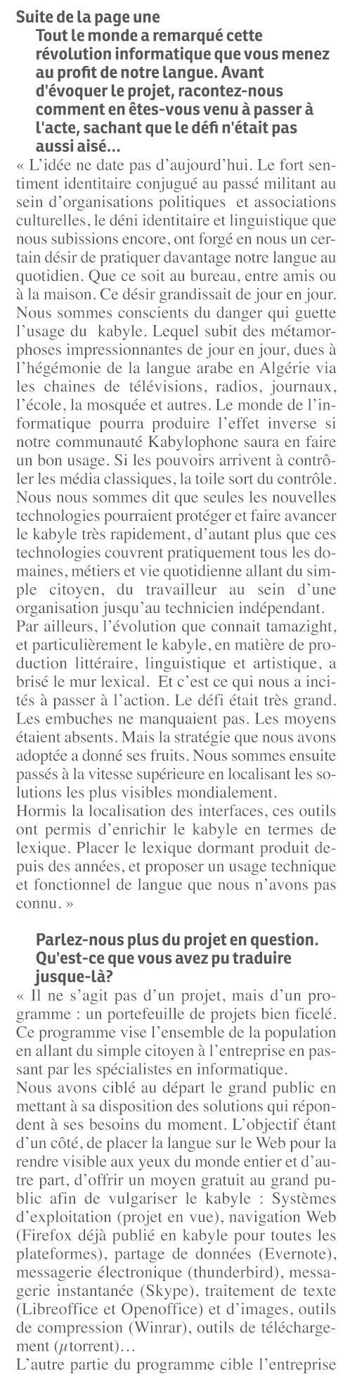 L'informaticien Mohamed Belkacem à  La Cité  «Cet outil amazigh ne vit pas sans le soutien kabyle» Bel113