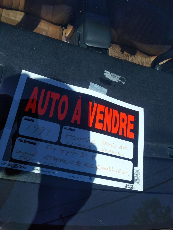 Pontiac firebird 1991 convertible à vendre. Img_2043