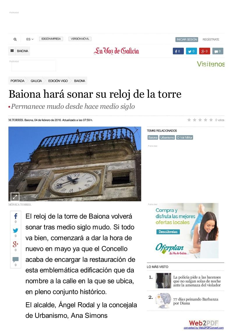 EL RELOJ DE LA TORRE DE BAIONA Www-la12