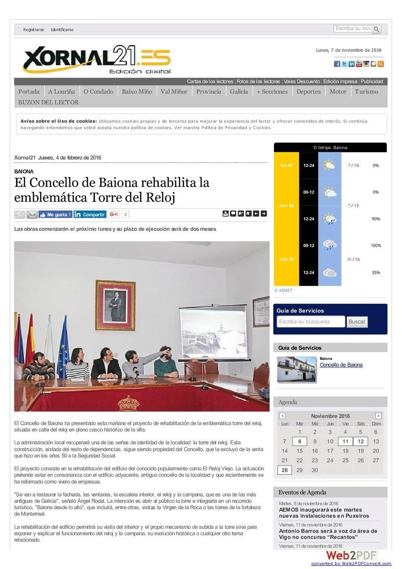 EL RELOJ DE LA TORRE DE BAIONA Xornal11