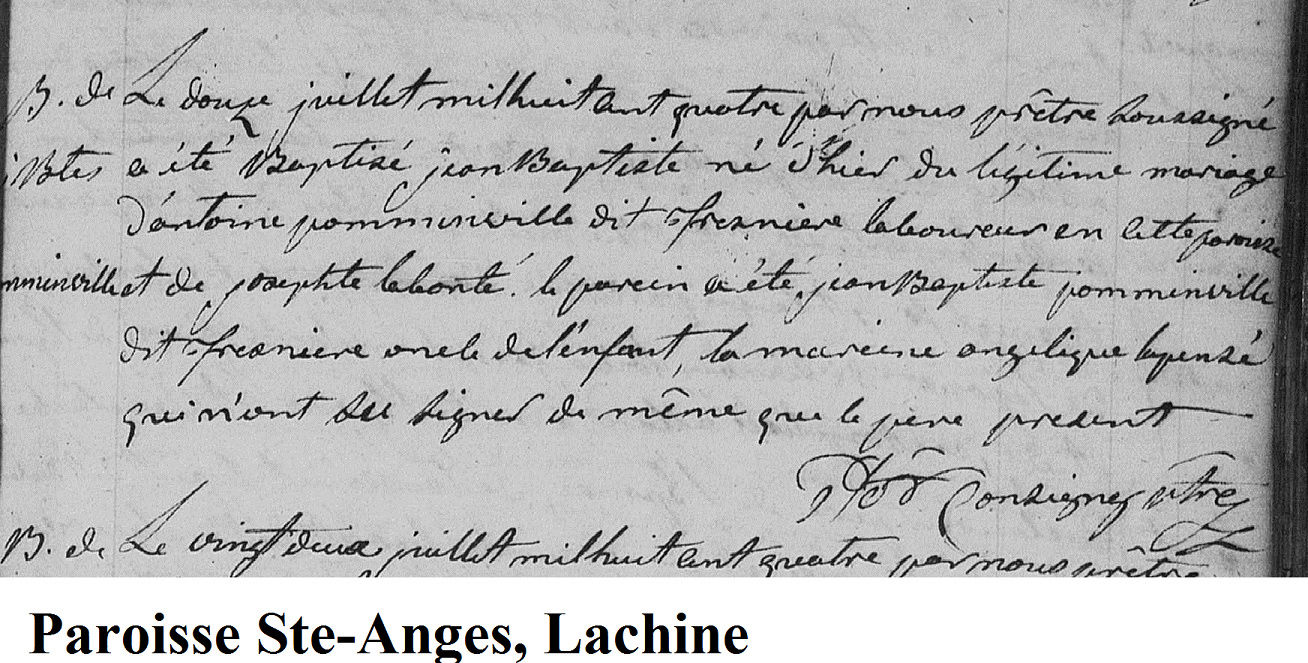 Jean-Baptiste Brault dit Pomainville et Scholastique Patenaude 334