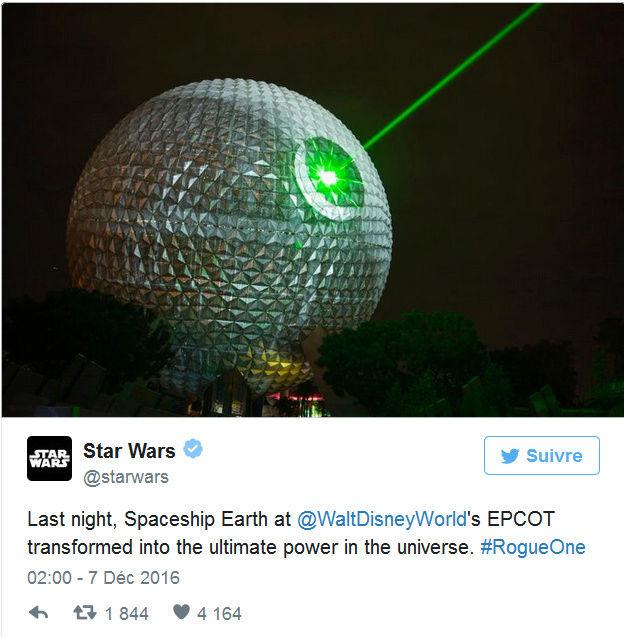 Pour la sortie du nouveau Star Wars, Disney transforme une attraction en immense Étoile noire ! Par Corentine Sys                                     Captur28