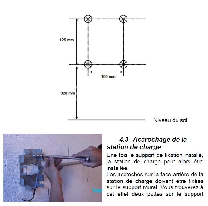 Schéma de fixation borne Hager XEV101 Sans_t14