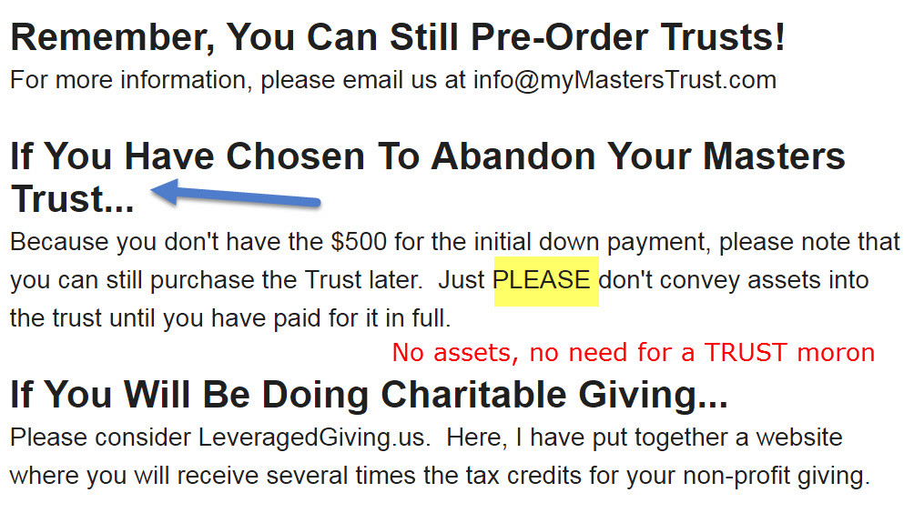 Masters Trust Exposed AGAIN Plus Policies and Newsletter Updates Master11