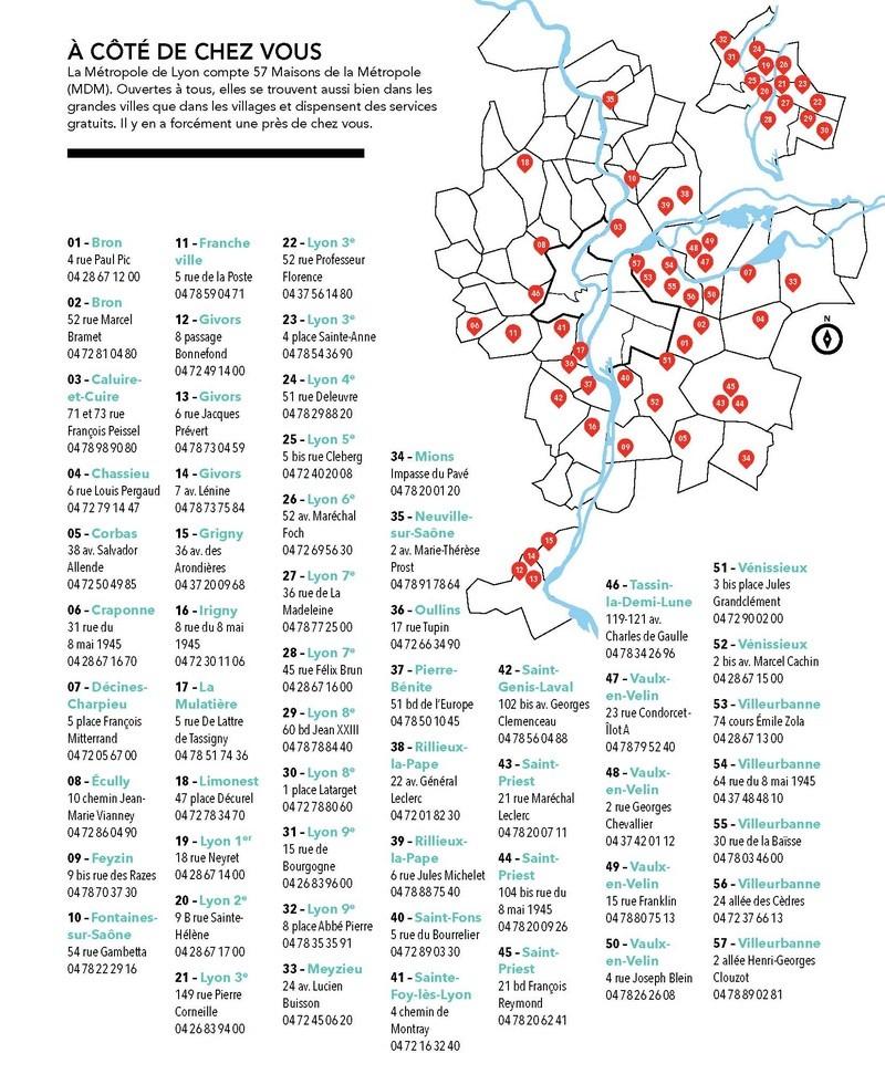 Carte et adresses des Maisons du Rhône qui deviennent les Maisons de la Métropole de Lyon La_car10