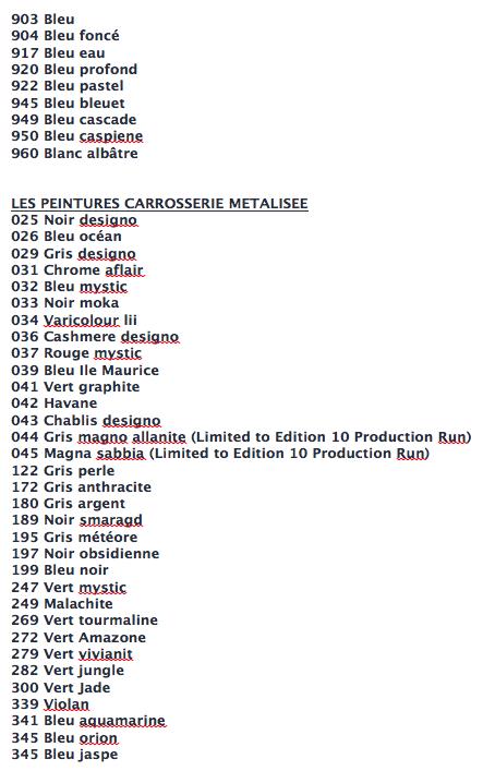 La liste des codes options MB Captur16
