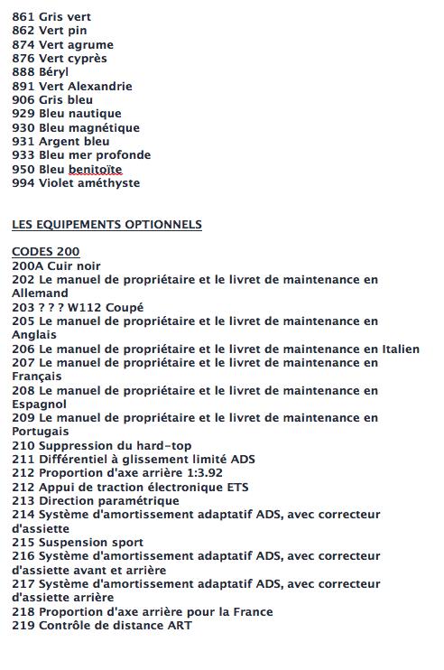 La liste des codes options MB Captur17