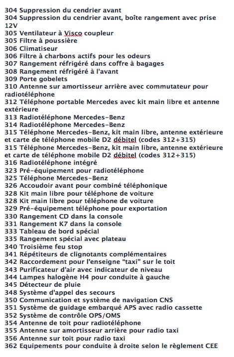La liste des codes options MB Captur22