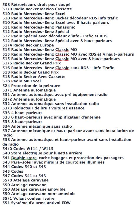 La liste des codes options MB Captur23