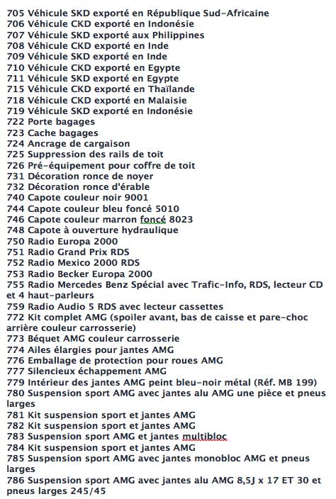 La liste des codes options MB Captur26
