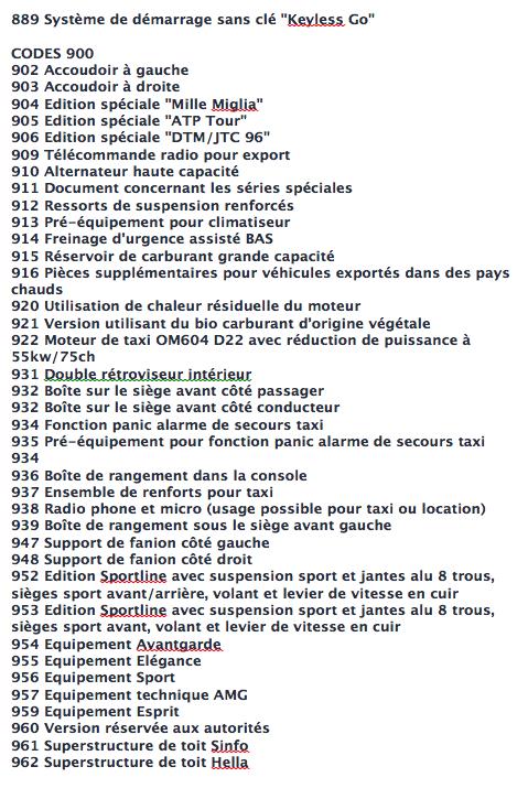 La liste des codes options MB Captur28