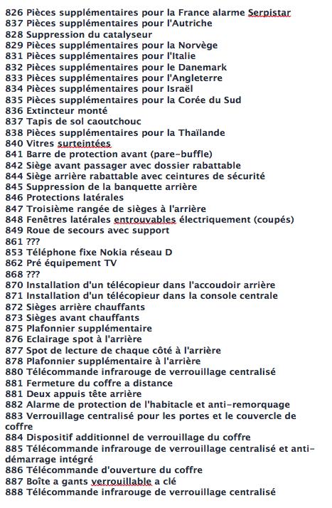 La liste des codes options MB Captur30