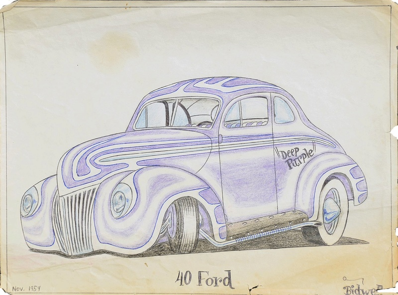 vintage hot rods and custom car drawing 10648310
