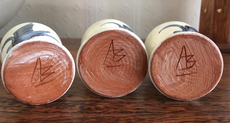 Egg Cups With Bird Design. Alan Brough? (cf. Alan Beastow)  Img_0511