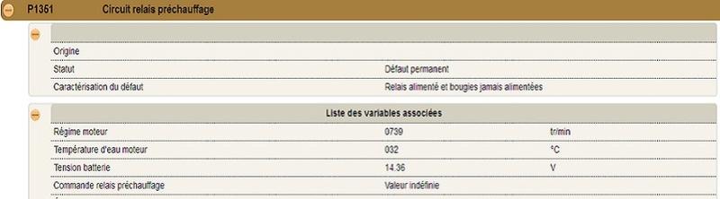 Tuto Code défaut P1351 sur 308  1.6 HDI 92ch 110
