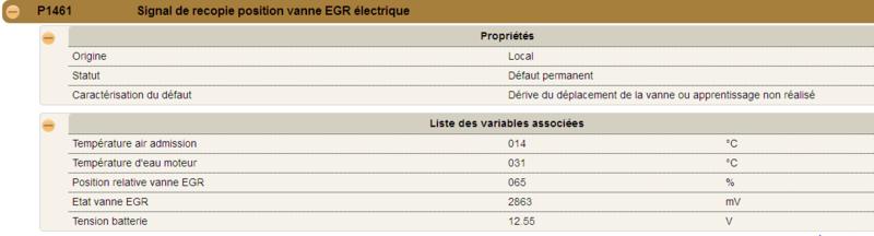 Code défaut P1461 Signal de recopie position vanne EGR électrique PSA 210