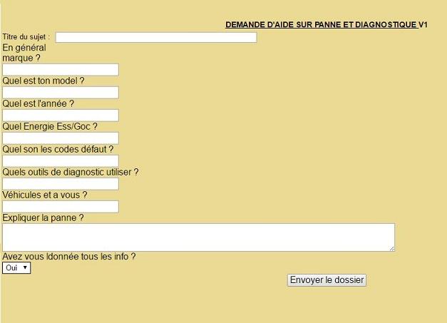Nouveau formulaire pour la demande d'aide a la panne Formul10