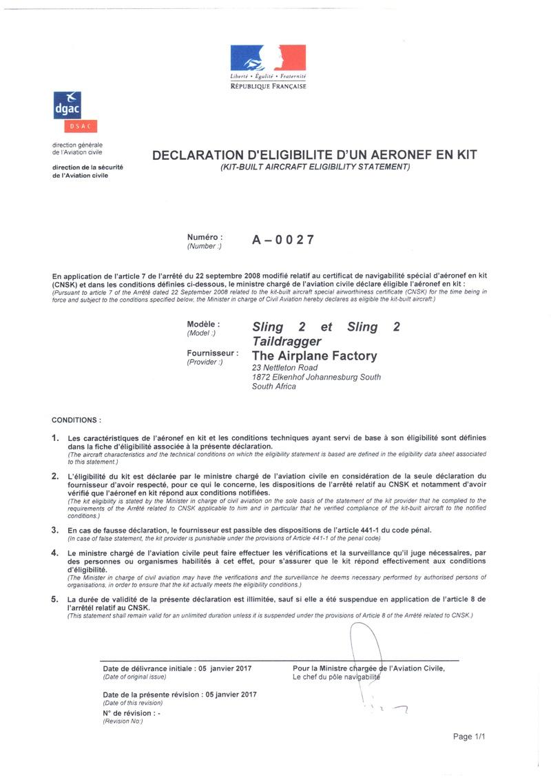 Sling 2 Déclaration d'éligibilité en kit A-0027 du 05 janvier 2017 1agrem10