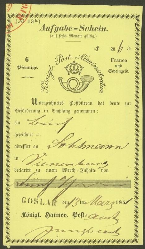 Postscheine aus dem Königreich Hannover Goslar10