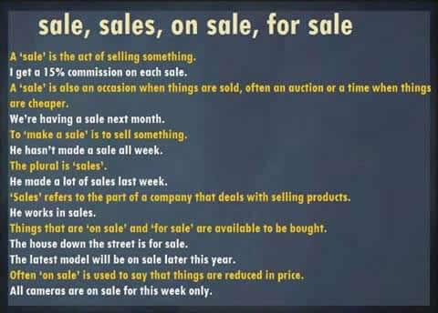 Uses of sale, sales, on sale, for sale Uses-o10
