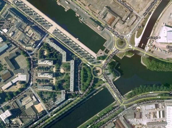 les ponts de Caen sur l'Orne à la date du 6 juin 1944 Ecluse12