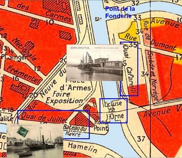 les ponts de Caen sur l'Orne à la date du 6 juin 1944 Plan-b10