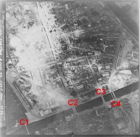 les ponts de Caen sur l'Orne à la date du 6 juin 1944 Raf-ta12