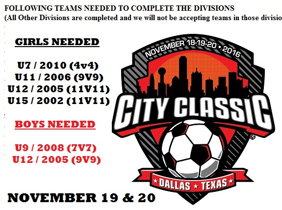 6 more teams needed for City Classic on Nov 18 & 19 City_c11