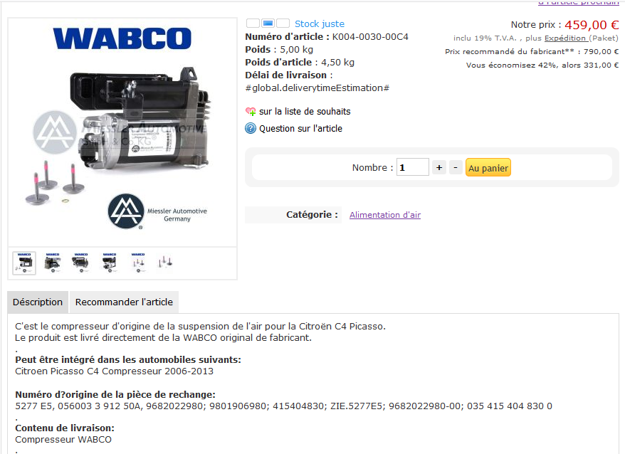 Suspension à air Compresseur wabco  Captur12