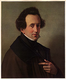Felix Mendelssohn:  He was a German composer and the predominant musical figure in the transitional period between the Classical and Romantic eras, and was considered one of the greatest composer of all time. 0809-m10