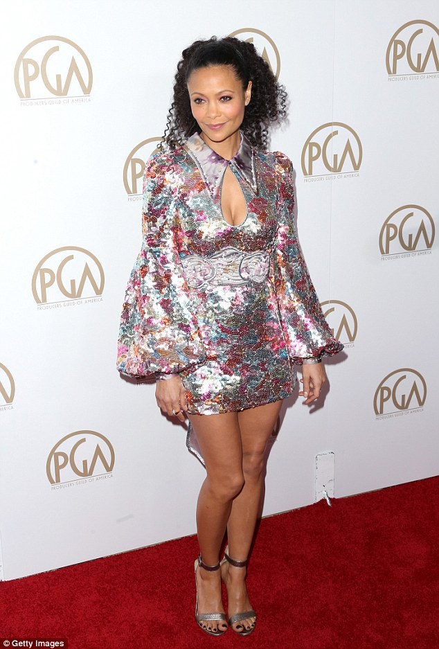 Thandie Newton looking gorgeous as ever in short sparkle mini dress 3c9d3f10
